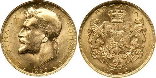 100 Leu Reino de Rumanía (1881-1947) Oro Fernando I de Rumania (1865-1927)