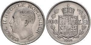 100 Lev Reino de Rumanía (1881-1947) Níquel Carol II of Romania (1893 - 1953)