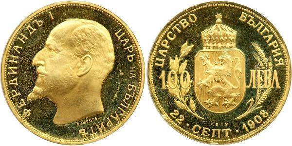 100 Lev Bulgarie Or Ferdinand I de Bulgarie (1861 -1948)