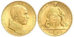 100 Lira 梵蒂冈 金 Pope Pius XII  (1876 - 1958)