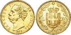 100 Lira Kingdom of Italy (1861-1946) Gold Umberto I (1844-1900)