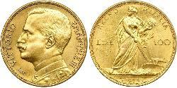 100 Lira Kingdom of Italy (1861-1946) Gold Vittorio Emanuele III (1869 - 1947)