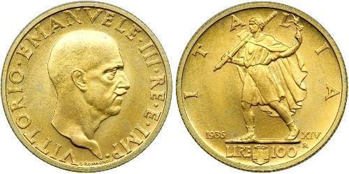 100 Lira Kingdom of Italy (1861-1946) Gold Vittorio Emanuele III (1869 - 1947)