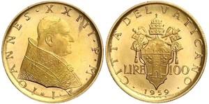 100 Lira Vatican (1926-) Gold Pope John XXIII