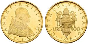 100 Lira Vatikan (1926-) Gold Johannes XXIII.