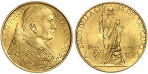 100 Lira Vatikan (1926-) Gold Pope Pius XI (1857 - 1939)
