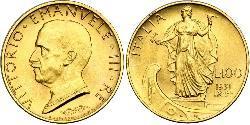 100 Lira Italy Gold/Platinum Vittorio Emanuele III (1869 - 1947)