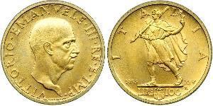 100 Lira Kingdom of Italy (1861-1946) Oro Vittorio Emanuele III (1869 - 1947)