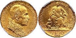 100 Lira Vatican (1926-) Oro Pío XII (1876 - 1958)