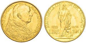 100 Lira Vatican (1926-) Oro Pope Pius XI (1857 - 1939)