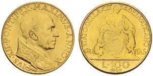 100 Lira Vaticano (1926-) Oro Papa Pio XII (1876 - 1958)