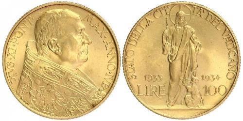 100 Lira Vaticano (1926-) Oro Pope Pius XI (1857 - 1939)
