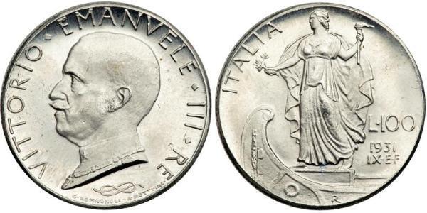 100 Lira Kingdom of Italy (1861-1946) Platino Vittorio Emanuele III (1869 - 1947)