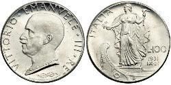 100 Lira Kingdom of Italy (1861-1946) Platinum Vittorio Emanuele III (1869 - 1947)