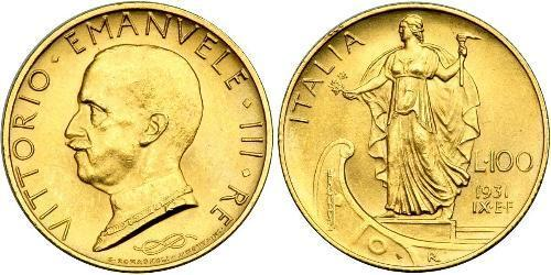 100 Lira 意大利 Platinum/金 Vittorio Emanuele III (1869 - 1947)