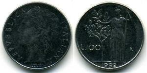 100 Lira Italy Steel