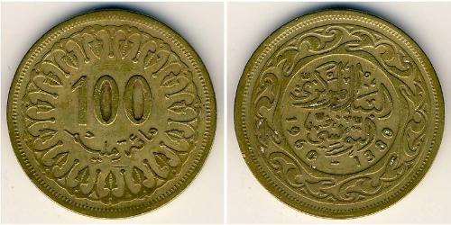 100 Millieme Tunisia Ottone/Oro