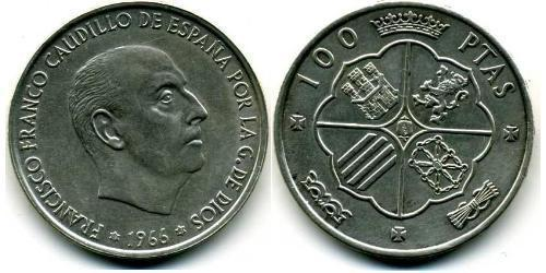 100 Peseta Francoist Spain (1936 - 1975) Argento Francisco Franco(1892 – 1975)