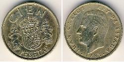 100 Peseta Kingdom of Spain (1976 - ) Bronze/Aluminium Juan Carlos I of Spain (1938 - )