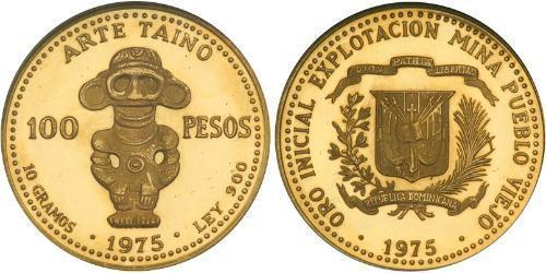 100 Peso Dominican Republic Gold