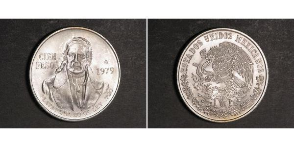 100 Peso Second Federal Republic of Mexico (1846 - 1863) Silber