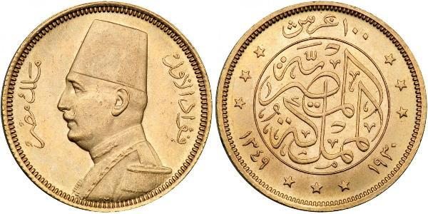 100 Piastre Kingdom of Egypt (1922 - 1953) Gold Fuad I of Egypt (1868 -1936)
