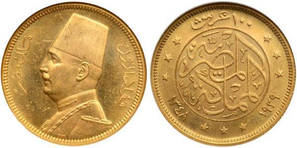 100 Piastre Kingdom of Egypt (1922 - 1953) Gold Fuad I of Egypt (1868 -1936)