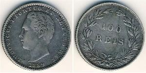 100 Reis Kingdom of Portugal (1139-1910) Silver Luis I of Portugal (1838 -1889)