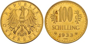 100 Shilling 奥地利第一共和国 (1919 - 1934) 金