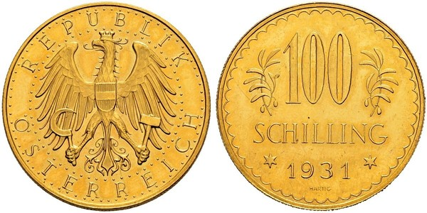100 Shilling Geschichte Österreichs (1918-1934) Gold