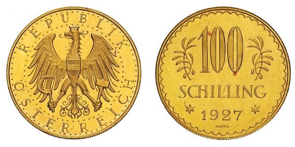 100 Shilling Prima repubblica austriaca (1918-1934) Oro