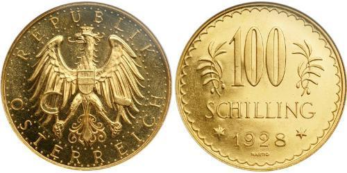 100 Shilling Primera República de Austria (1918-1934) Oro