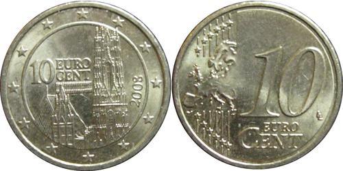 10 Євроцент Австрійська Республіка (1955 - ) Мідь