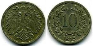 10 Геллер Австро-Венгрия (1867-1918) Цинк/Никель/Медь Франц Иосиф I (1830 - 1916)