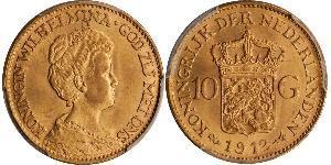 10 Гульден Королевство Нидерланды (1815 - ) Золото Вильгельмина(1880 - 1962)