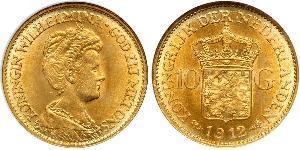 10 Гульден Королівство Нідерланди (1815 - ) Золото Вільгельміна (королева Нідерландів)(1880 - 1962)