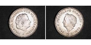 10 Гульден Королівство Нідерланди (1815 - ) Срібло Юлиана ,королева Нидерландов (1909 – 2004)