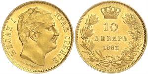 10 Динар Сербия Золото Милан I Обренович