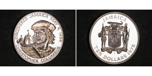 10 Долар Ямайка (1962 - ) Срібло Христофор Колумб (1451 - 1506)