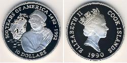 10 Доллар Острова Кука Серебро