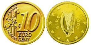 10 Евроцент Ирландия (1922 - ) Алюминий/Цинк/Олово/Медь