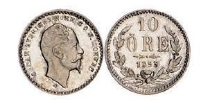 10 Ере Швеція Срібло Оскар I (1799-1859)