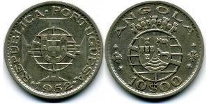 10 Ескудо  Portuguese Angola (1575-1975) / Португалія Срібло