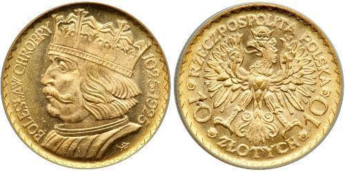 10 Злотый Польская Республика (1918 - 1939) Золото