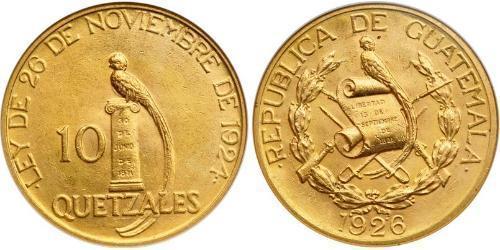 10 Кетцаль Республіка Ґватемала (1838 - ) Золото