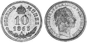 10 Крейцер Австрійська імперія (1804-1867) Срібло Франц Иосиф I (1830 - 1916)