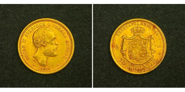 10 Крона Швеція Золото Оскар II (1829-1907)