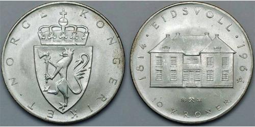 10 Крона Норвегія (1905 - ) Срібло Олаф V (1903 - 1991)
