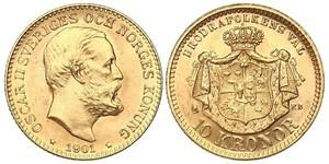 10 Крона / 10 Kronor  Швеция Золото Оскар II (1829-1907)