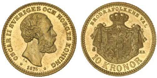 10 Крона / 10 Kronor  Швеція Золото Оскар II (1829-1907)